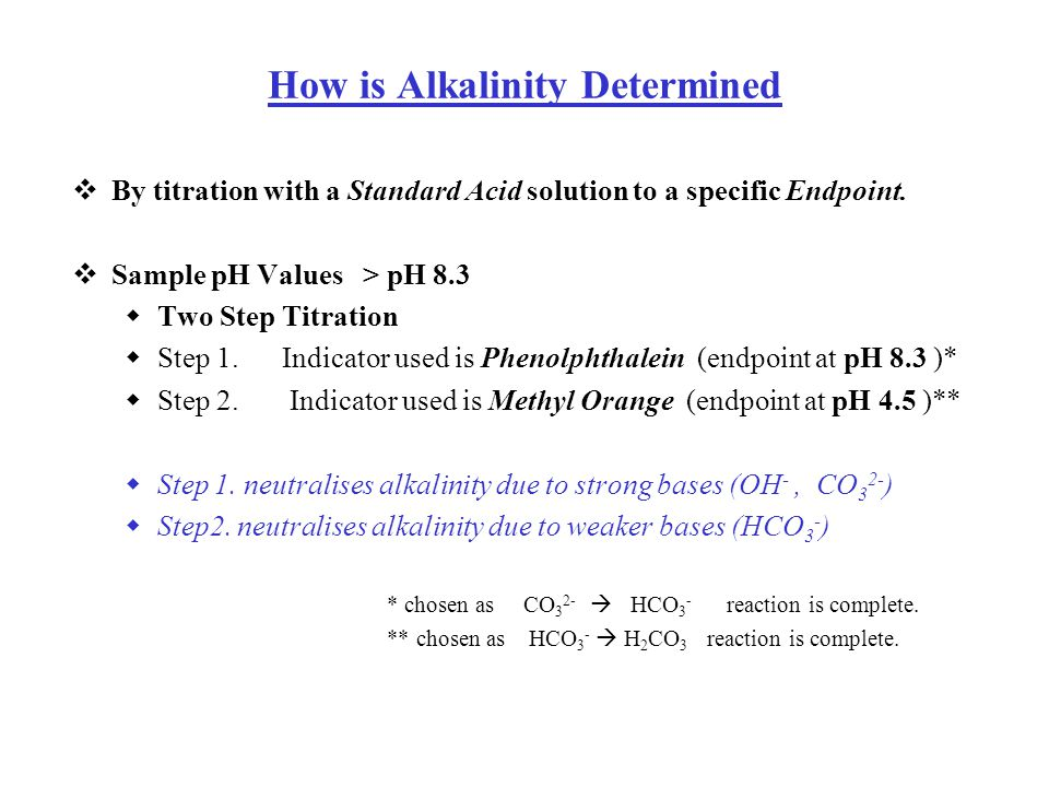 How is Alkalinity Determined  By titration with a Standard Acid solution to a specific Endpoint.