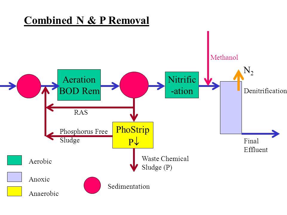 Aeration BOD Rem Nitrific -ation PhoStrip Denitrification Final Effluent Waste Chemical Sludge (P) RAS Phosphorus Free Sludge Methanol Aerobic Anoxic Anaerobic Sedimentation Combined N & P Removal N2N2 PP