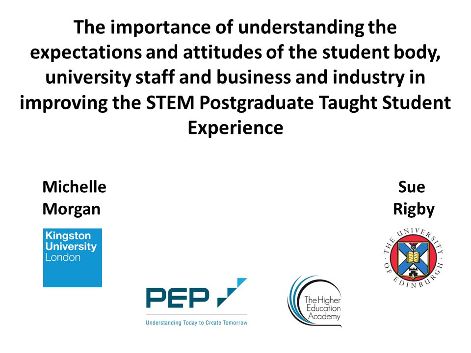 The importance of understanding the expectations and attitudes of the student body, university staff and business and industry in improving the STEM Postgraduate Taught Student Experience Michelle Sue Morgan Rigby
