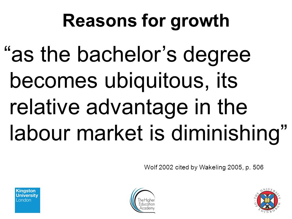 as the bachelor's degree becomes ubiquitous, its relative advantage in the labour market is diminishing Wolf 2002 cited by Wakeling 2005, p.