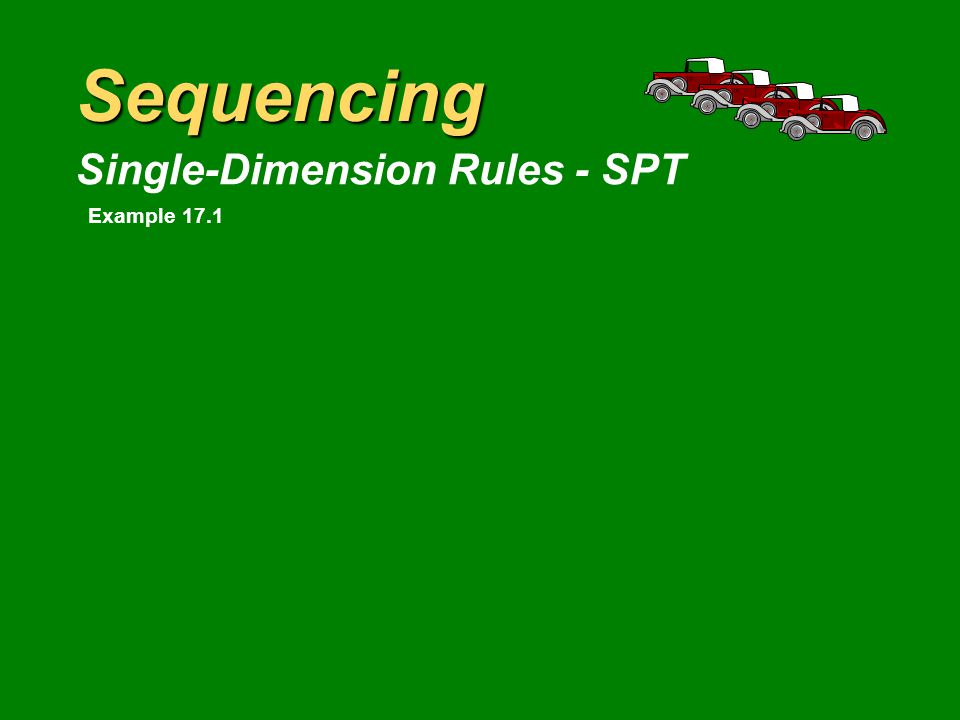 Sequencing Single-Dimension Rules - EDD JobScheduledActual EngineProcessingFlowCustomerCustomerHours BlockBeginTimeTimePickupPickupHoursPast SequenceWork(hr)(hr)TimeTimeEarlyDue Ranger 0+8=810102 Explorer 8+6=1412142 Econoline 150 14+3=1718181 Bronco 17+15=32203212 Thunderbird 32+12=44224422 Average job flow time = 23 hoursAverage hours early = 0.6 hour Average hours past due = 7.2 hoursAverage WIP = 2.61 blocks Average total inventory = 2.68 engine blocks Example 17.1
