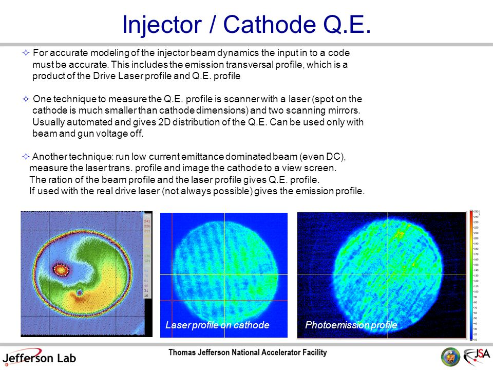 Injector / Cathode Q.E.  For accurate modeling of the injector beam dynamics the input in to a code must be accurate. This includes the emission tran