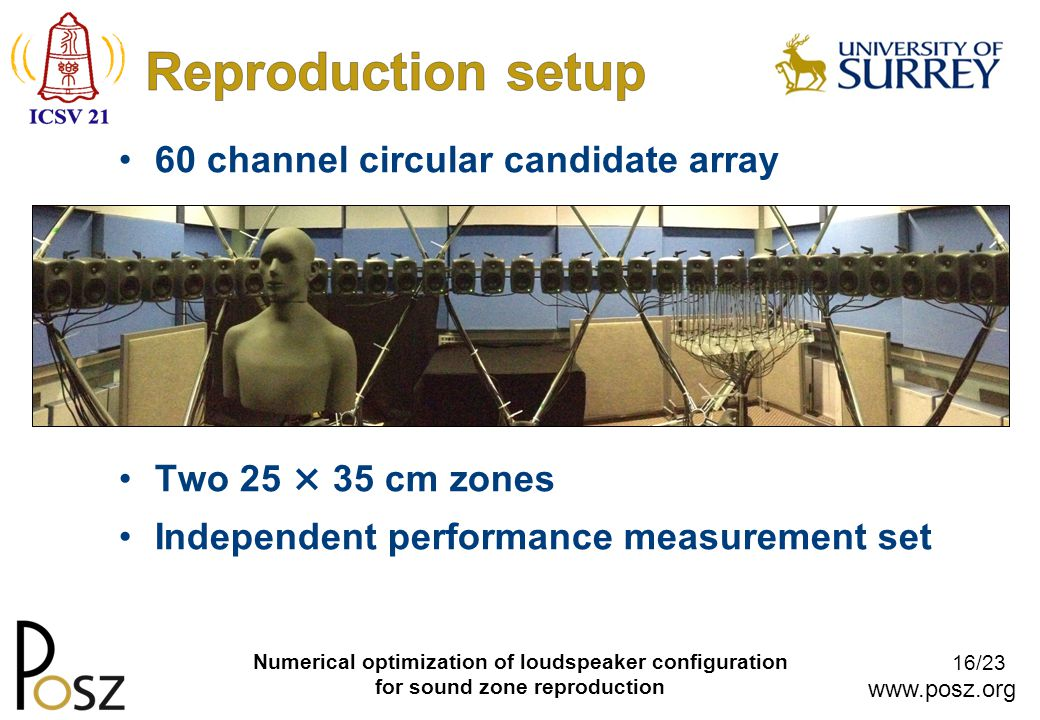 www.posz.org 16/23 Numerical optimization of loudspeaker configuration for sound zone reproduction 60 channel circular candidate array Two 25 × 35 cm zones Independent performance measurement set