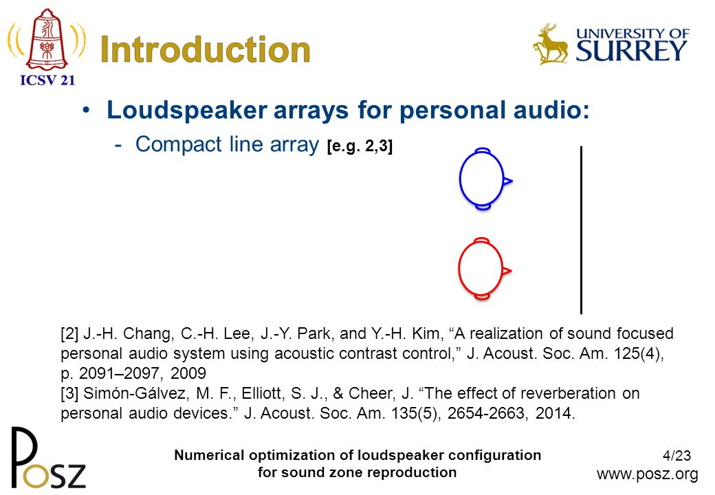 www.posz.org 4/23 Numerical optimization of loudspeaker configuration for sound zone reproduction Loudspeaker arrays for personal audio: -Compact line array [e.g.