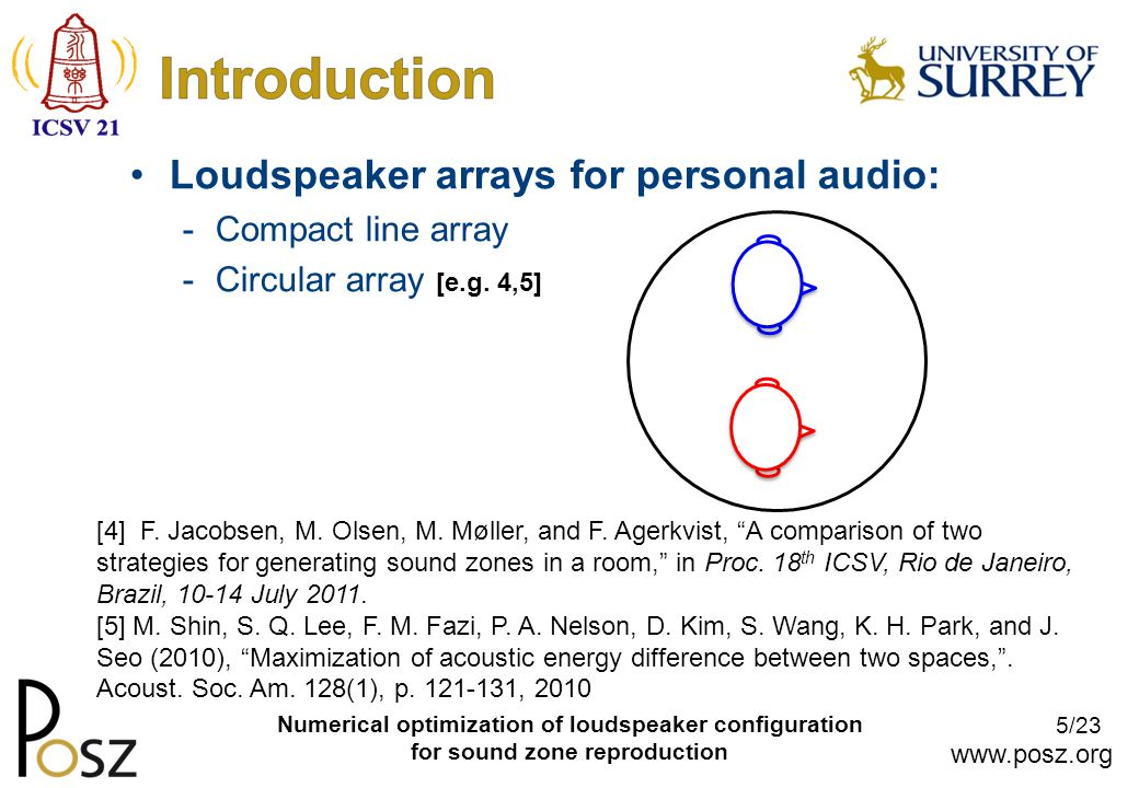 www.posz.org 26/23 Numerical optimization of loudspeaker configuration for sound zone reproduction Measure room responses (60 × 768) Select optimal loudspeakers Calculate optimal source weights for each frequency Inverse FFT/shift to make FIR filters (×60) Independent performance measurement set