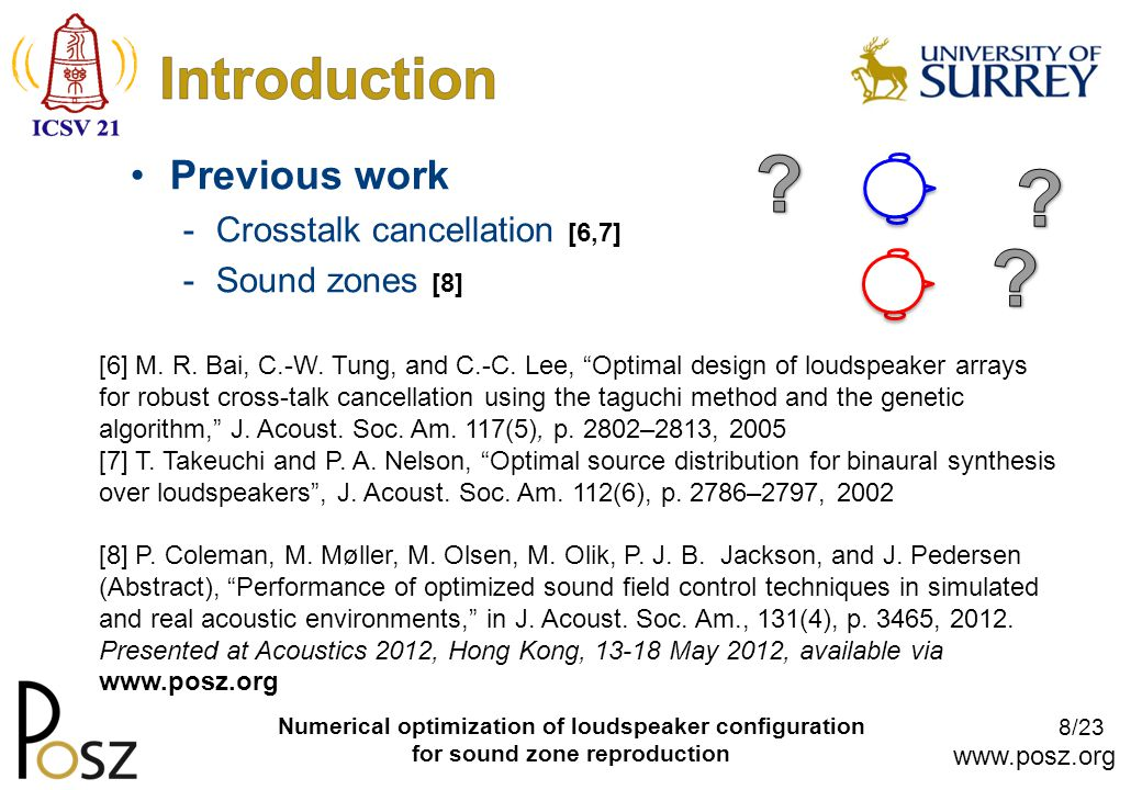www.posz.org 8/23 Numerical optimization of loudspeaker configuration for sound zone reproduction Previous work -Crosstalk cancellation [6,7] -Sound zones [8] [6] M.
