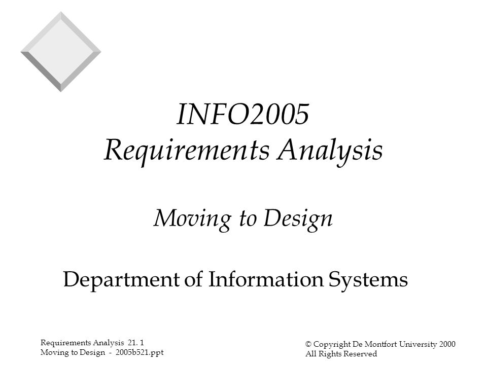 Requirements Analysis 21.