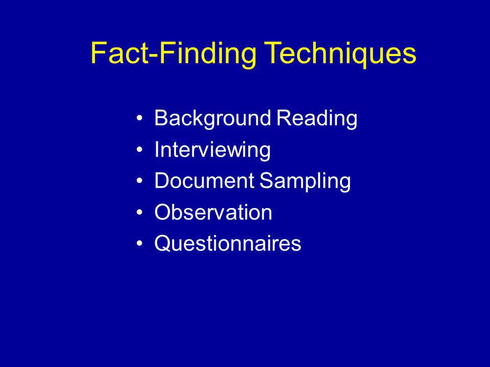 Fact-Finding Techniques Background Reading Interviewing Document Sampling Observation Questionnaires