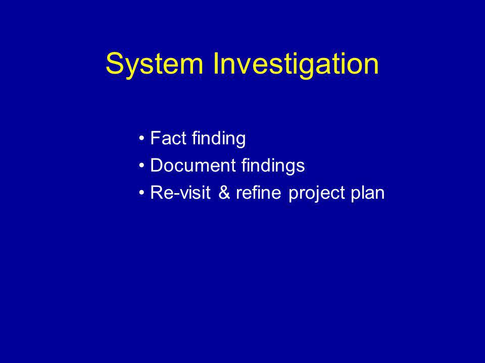 System Investigation Fact finding Document findings Re-visit & refine project plan