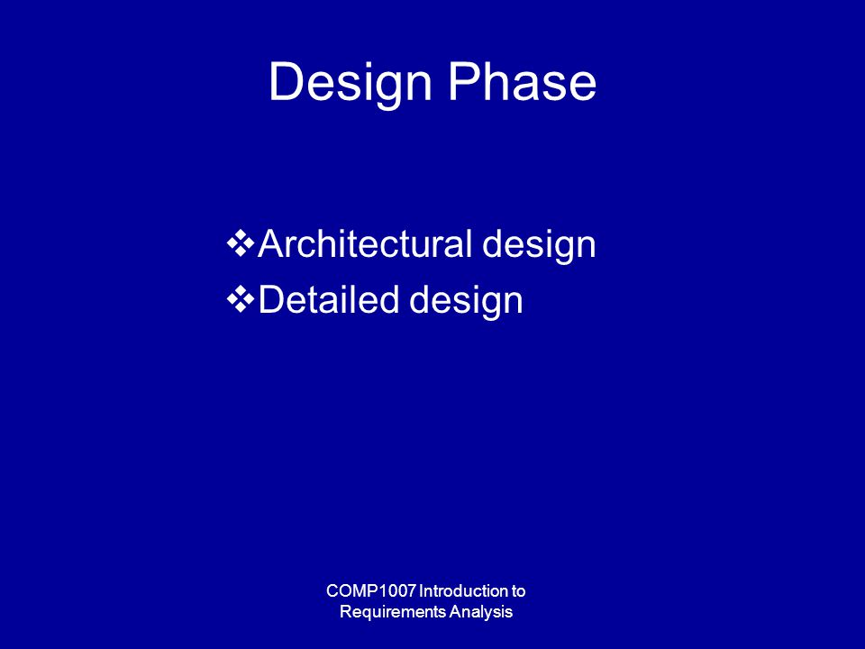 COMP1007 Introduction to Requirements Analysis Design Phase  Architectural design  Detailed design