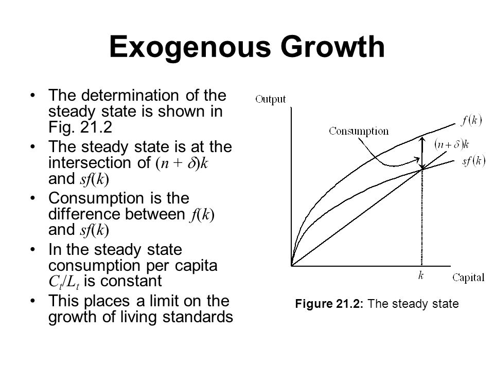 Exogenous Growth The determination of the steady state is shown in Fig.