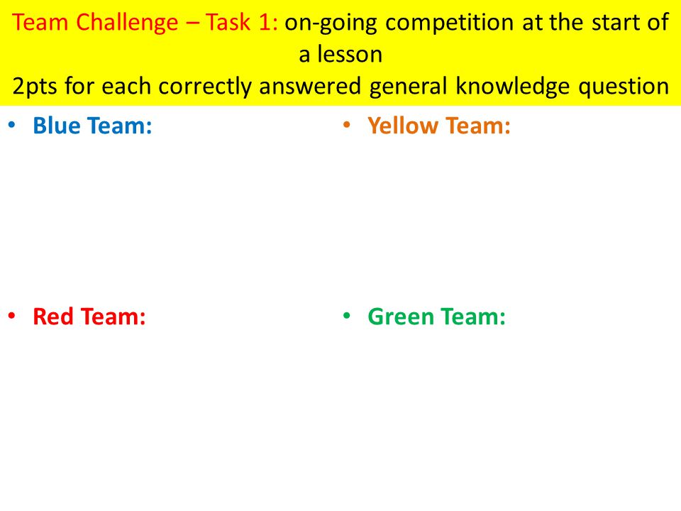 Team Challenge – Task 1: on-going competition at the start of a lesson 2pts for each correctly answered general knowledge question Blue Team: Red Team: Yellow Team: Green Team: