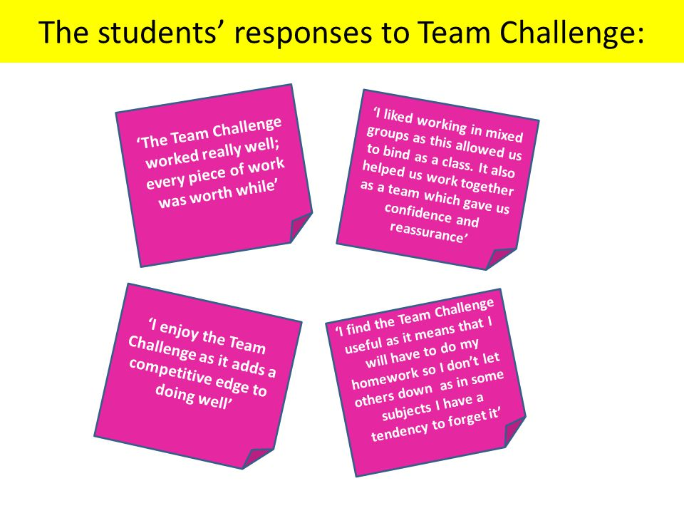 The students' responses to Team Challenge: 'The Team Challenge worked really well; every piece of work was worth while' 'I liked working in mixed groups as this allowed us to bind as a class.