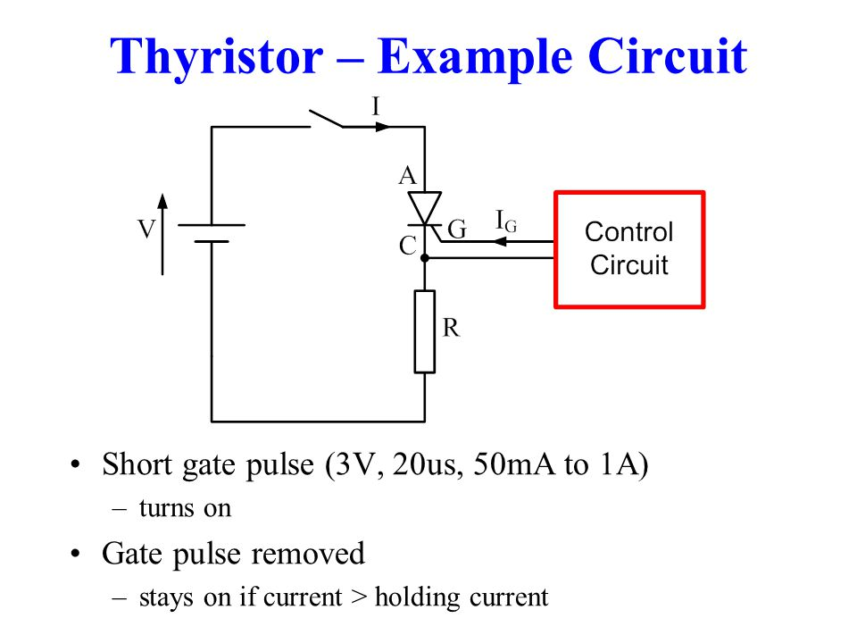 Thyristor – Example Circuit Short gate pulse (3V, 20us, 50mA to 1A) –turns on Gate pulse removed –stays on if current > holding current