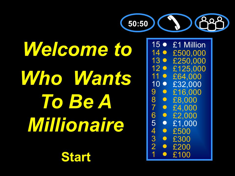 15 14 13 12 11 10 9 8 7 6 5 4 3 2 1 £1 Million £500,000 £250,000 £125,000 £64,000 £32,000 £16,000 £8,000 £4,000 £2,000 £1,000 £500 £300 £200 £100 Welcome to 50:50 Start Who Wants To Be A Millionaire