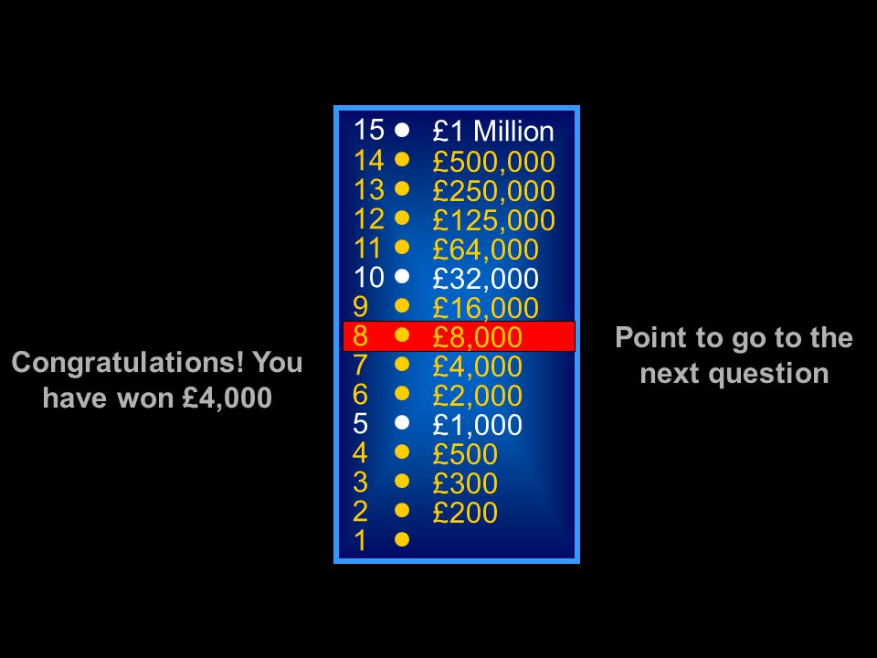 A: Overload C: Reversibility B: Variance D: Progression 15 14 13 12 11 10 9 8 7 6 5 4 3 2 1 £1 Million £500,000 £250,000 £125,000 £64,000 £32,000 £16,
