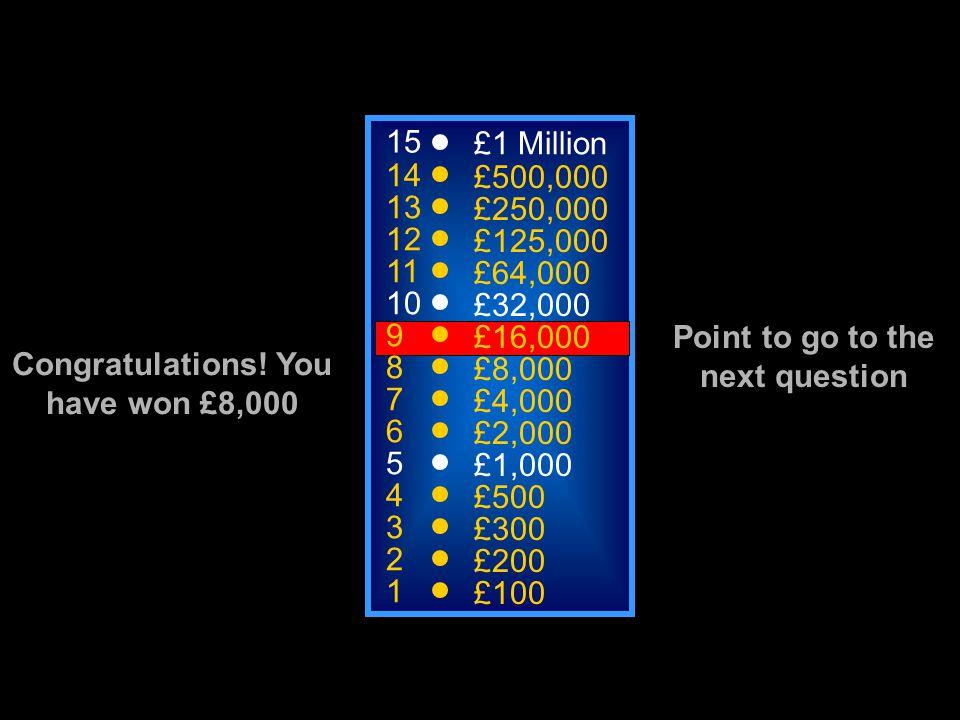 A: Myoglogin C: Mitochondria B: Sarcolemma D: Haemoglobin 15 14 13 12 11 10 9 8 7 6 5 4 3 2 1 £1 Million £500,000 £250,000 £125,000 £64,000 £32,000 £16,000 £8,000 £4,000 £2,000 £1,000 £500 £300 £200 £100 50:50 What is this
