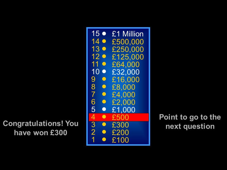 15 14 13 12 11 10 9 8 7 6 5 4 3 2 1 £1 Million £500,000 £250,000 £125,000 £64,000 £32,000 £16,000 £8,000 £4,000 £2,000 £1,000 £500 £300 £200 Congratulations.