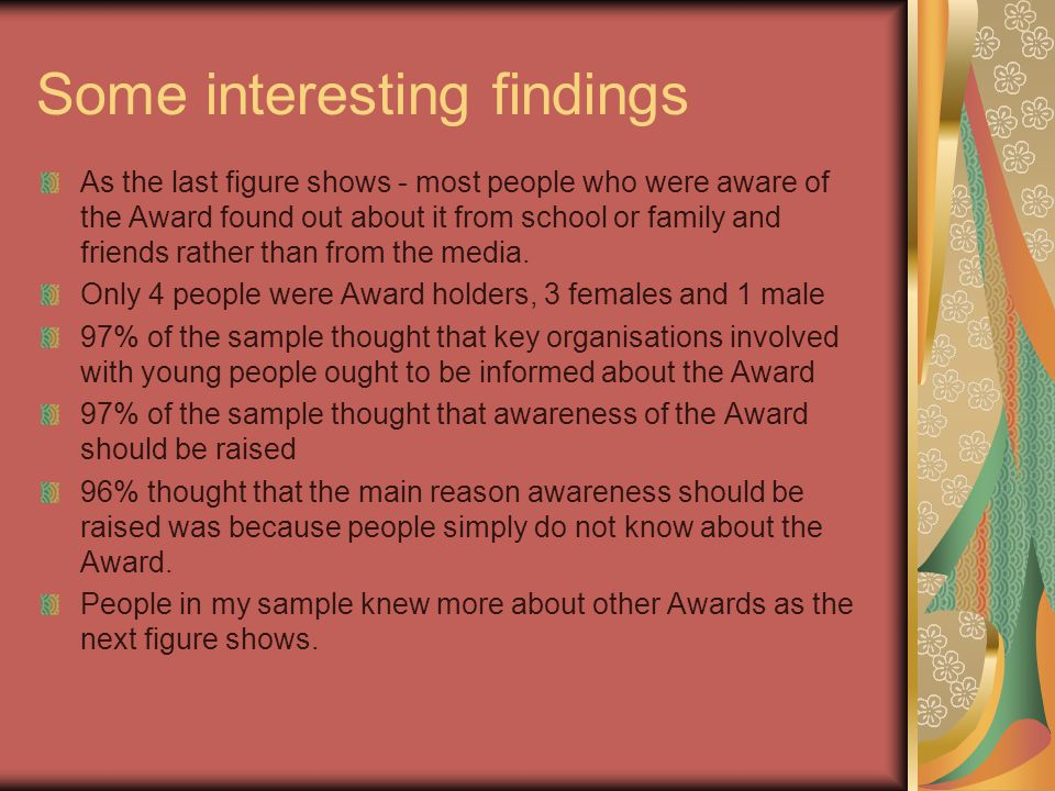 Some interesting findings As the last figure shows - most people who were aware of the Award found out about it from school or family and friends rath