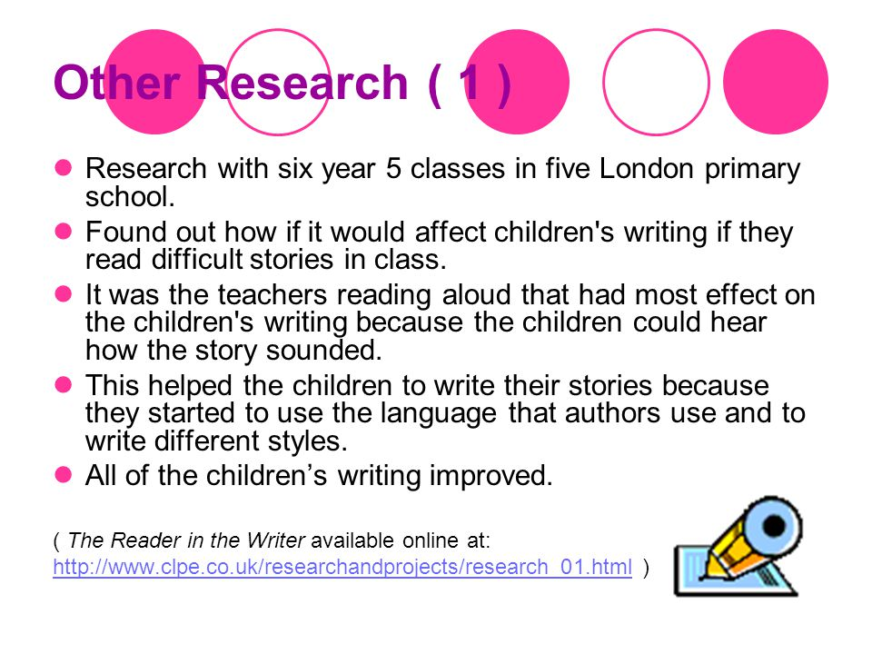 Research on reading and writing There has been lots and lots of research about reading and writing.