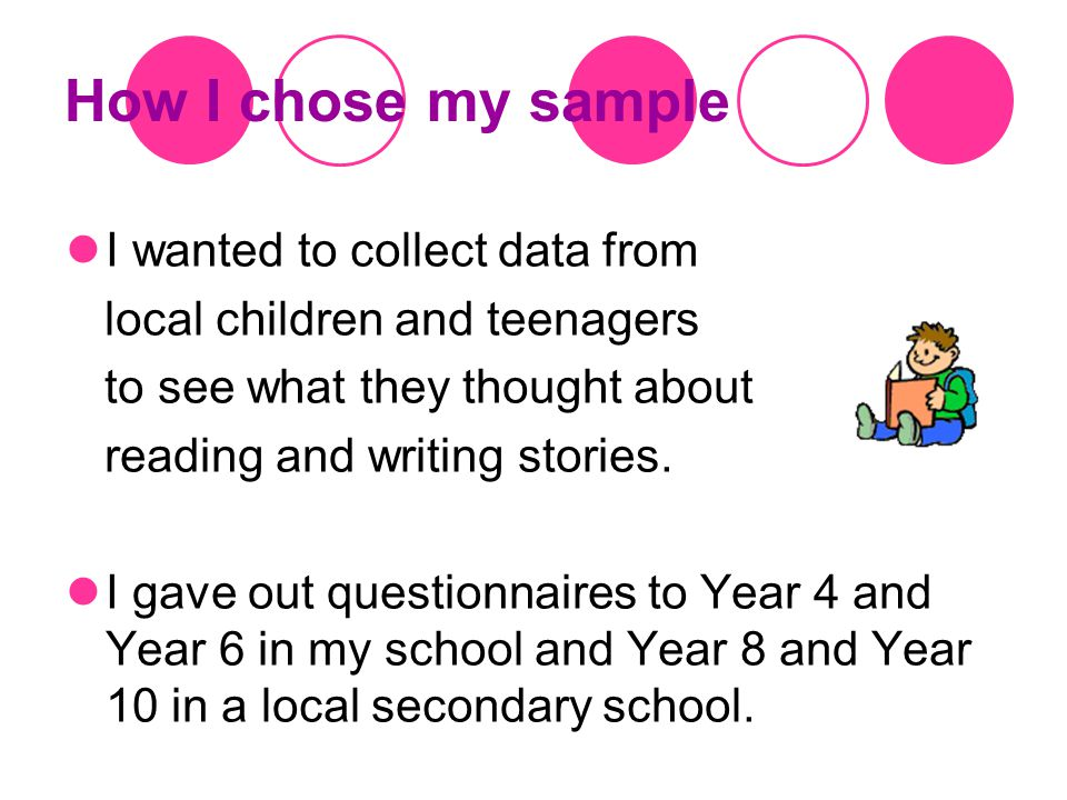 How I chose my sample I wanted to collect data from local children and teenagers to see what they thought about reading and writing stories.