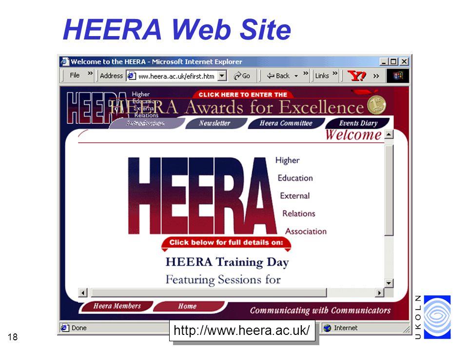 18 HEERA Web Site http://www.heera.ac.uk/