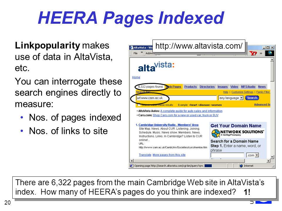 20 HEERA Pages Indexed Linkpopularity makes use of data in AltaVista, etc.