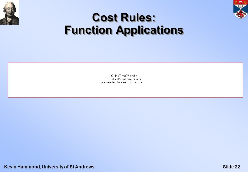 Slide 22Kevin Hammond, University of St Andrews Cost Rules: Function Applications