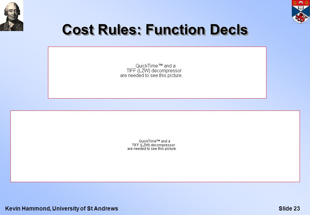 Slide 23Kevin Hammond, University of St Andrews Cost Rules: Function Decls