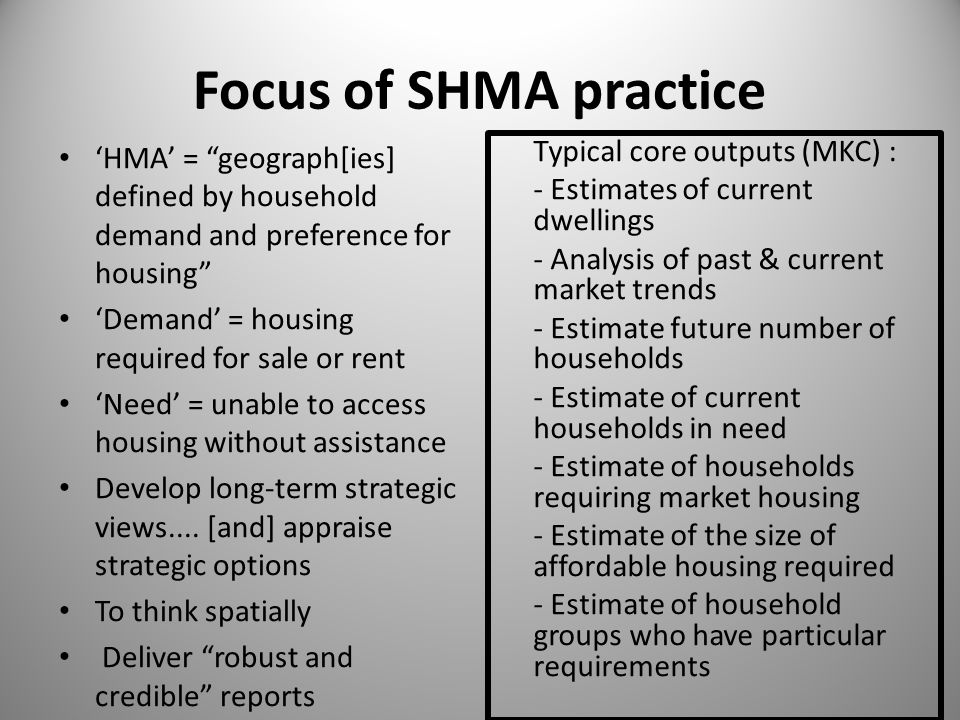 Focus of SHMA practice 'HMA' = geograph[ies] defined by household demand and preference for housing 'Demand' = housing required for sale or rent 'Need' = unable to access housing without assistance Develop long-term strategic views....