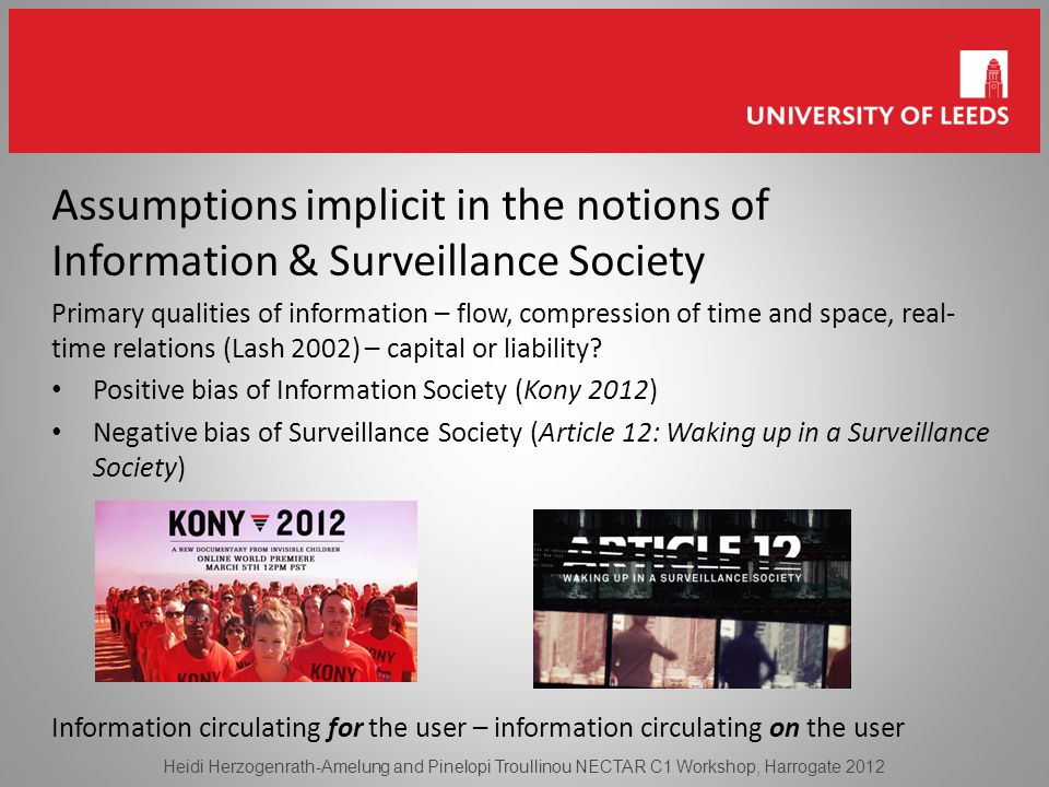 Assumptions implicit in the notions of Information & Surveillance Society Primary qualities of information – flow, compression of time and space, real- time relations (Lash 2002) – capital or liability.