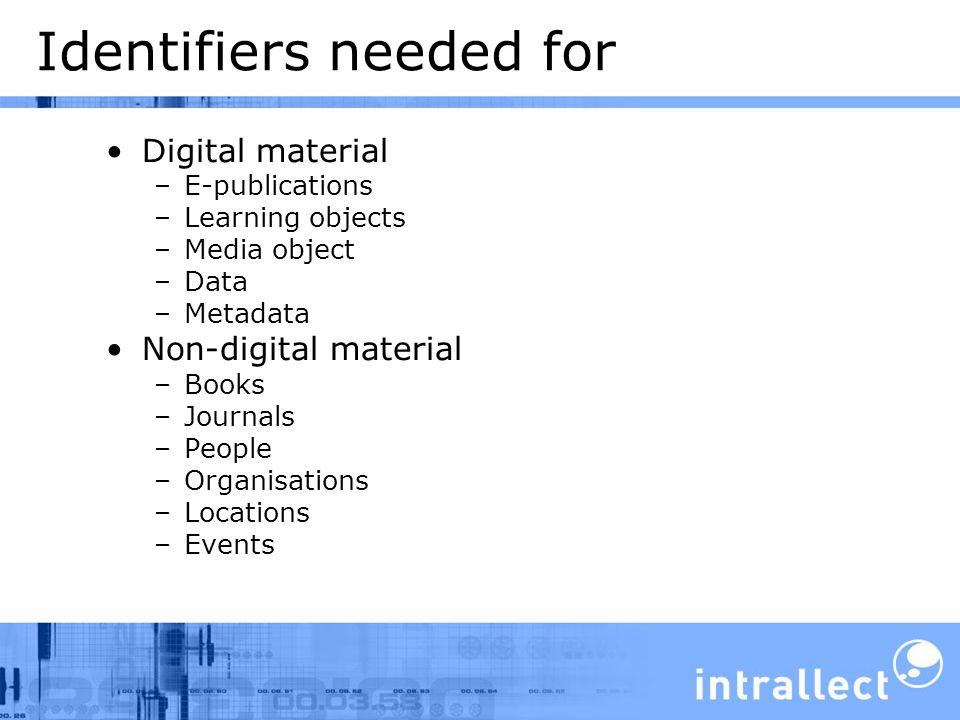 Identifiers needed for Digital material –E-publications –Learning objects –Media object –Data –Metadata Non-digital material –Books –Journals –People –Organisations –Locations –Events
