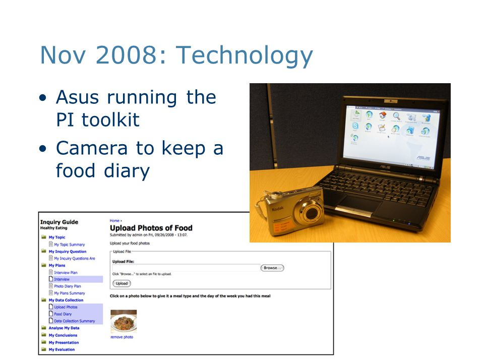 Nov 2008: Technology Asus running the PI toolkit Camera to keep a food diary