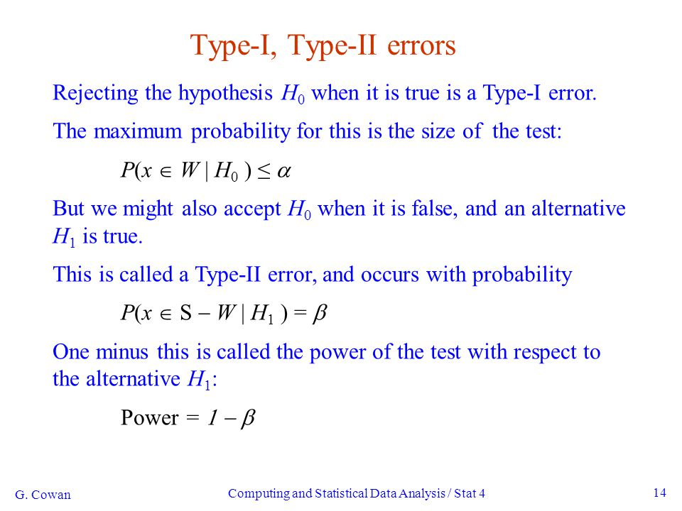 G. Cowan Computing and Statistical Data Analysis / Stat 4 14 Type-I, Type-II errors Rejecting the hypothesis H 0 when it is true is a Type-I error. Th