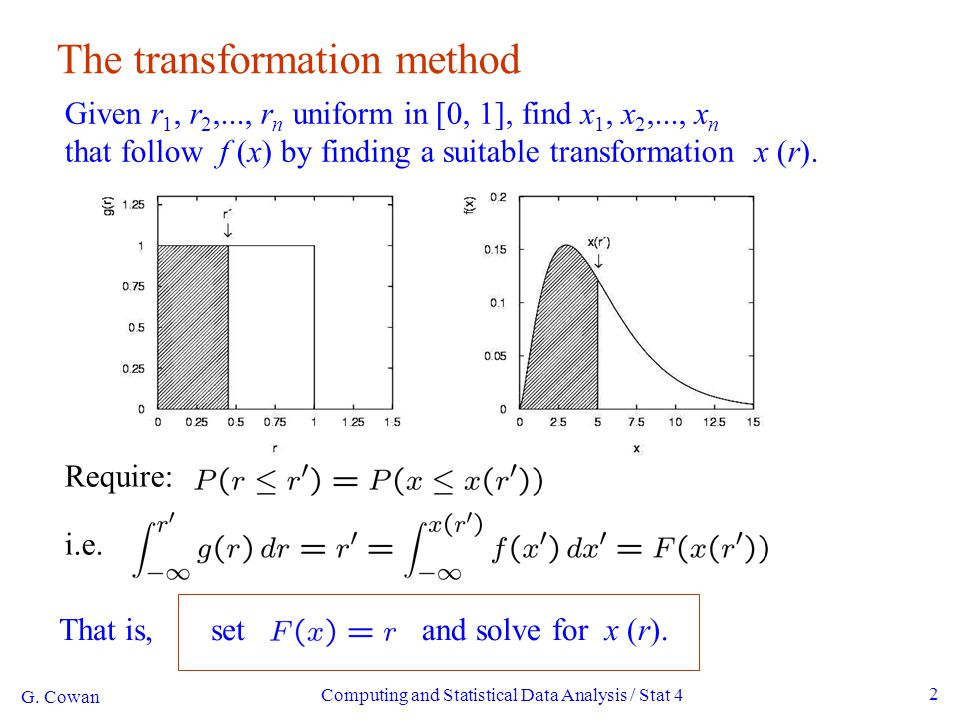 Computing and Statistical Data Analysis / Stat 4 23 Signal/background efficiency Probability to reject background hypothesis for background event (background efficiency): Probability to accept a signal event as signal (signal efficiency): G.