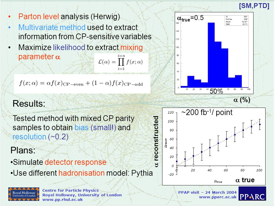 Centre for Particle Physics Royal Holloway, University of London   PPAP visit – 24 March Parton level analysis (Herwig) Multivariate method used to extract information from CP-sensitive variables Maximize likelihood to extract mixing parameter  [SM,PTD] Plans: Simulate detector response Use different hadronisation model: Pythia  (%) Results: Tested method with mixed CP parity samples to obtain bias (small!) and resolution (~0.2)  true  reconstructed ~200 fb -1 / point  true =0.5 50%