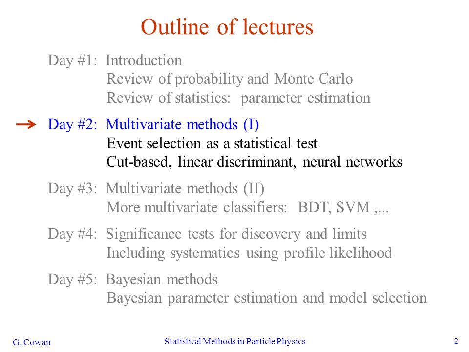 G. Cowan Statistical Methods in Particle Physics2 Outline of lectures Day #1: Introduction Review of probability and Monte Carlo Review of statistics: