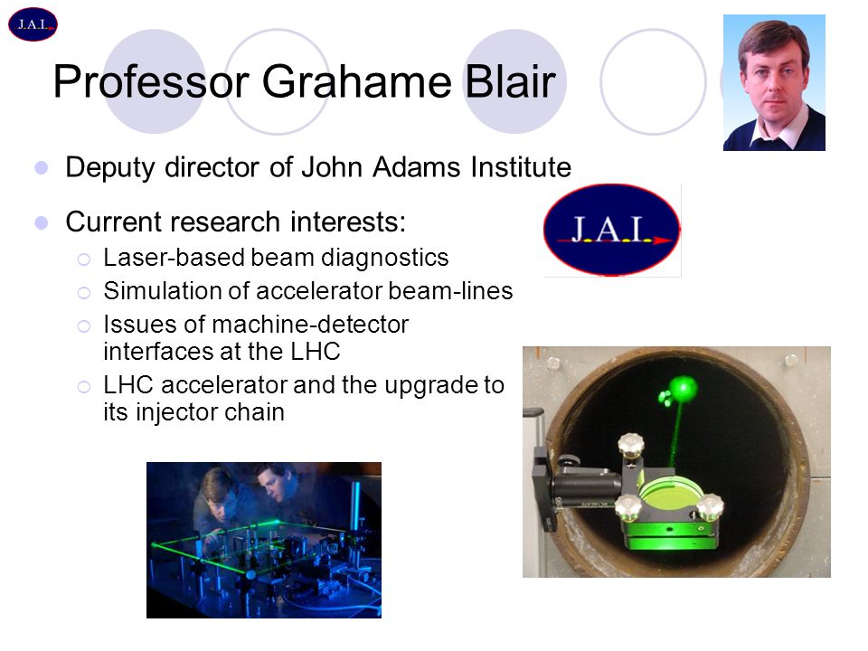 Professor Grahame Blair Deputy director of John Adams Institute Current research interests:  Laser-based beam diagnostics  Simulation of accelerator beam-lines  Issues of machine-detector interfaces at the LHC  LHC accelerator and the upgrade to its injector chain
