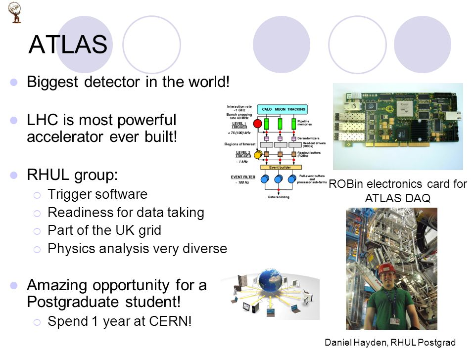ATLAS Biggest detector in the world. LHC is most powerful accelerator ever built.