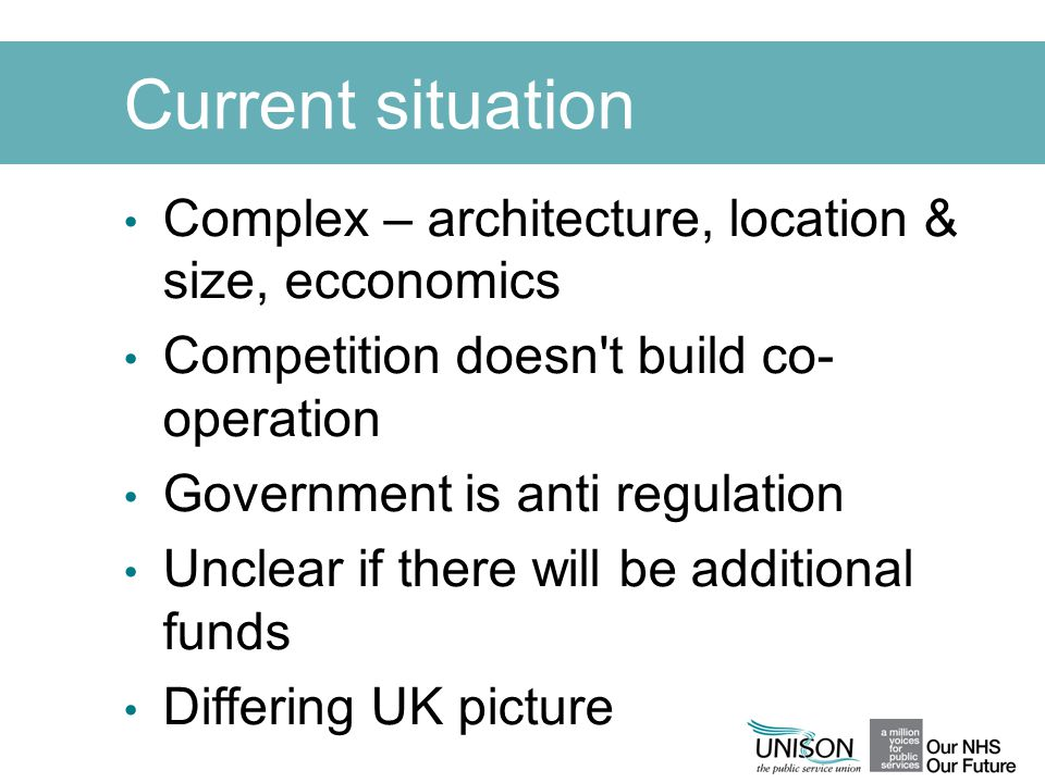 Current situation Complex – architecture, location & size, ecconomics Competition doesn't build co- operation Government is anti regulation Unclear if