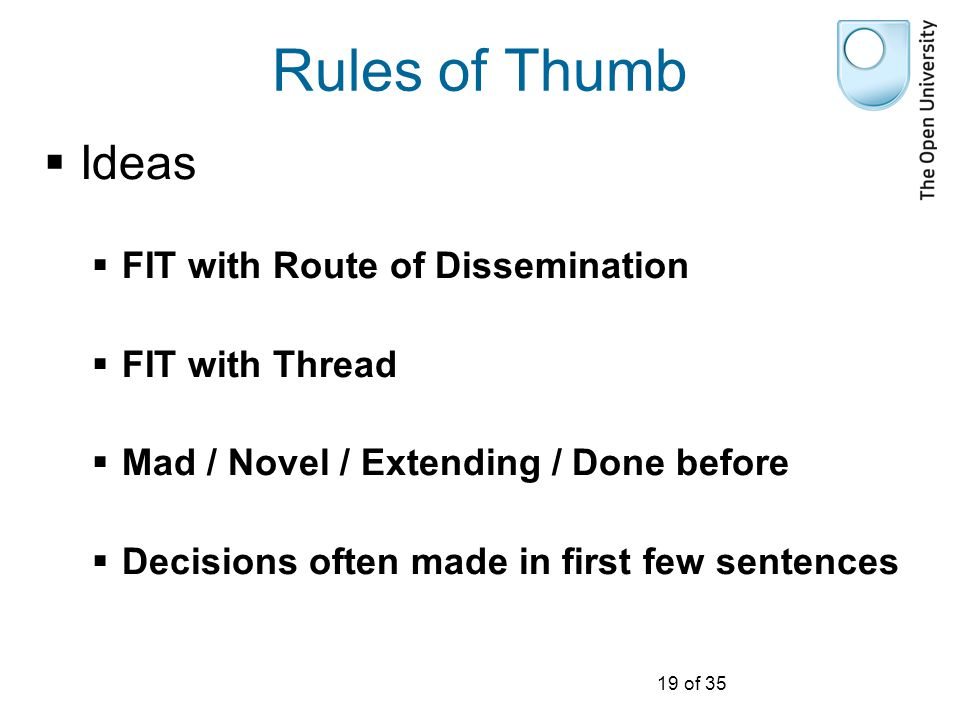 19 of 35 Rules of Thumb  Ideas  FIT with Route of Dissemination  FIT with Thread  Mad / Novel / Extending / Done before  Decisions often made in first few sentences