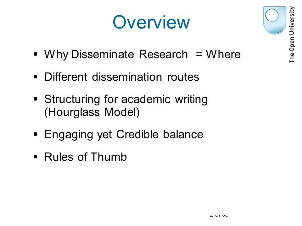 2 of 35 Overview  Why Disseminate Research = Where  Different dissemination routes  Structuring for academic writing (Hourglass Model)  Engaging yet Credible balance  Rules of Thumb