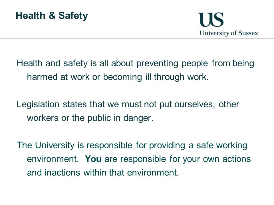 Health & Safety Health and safety is all about preventing people from being harmed at work or becoming ill through work.