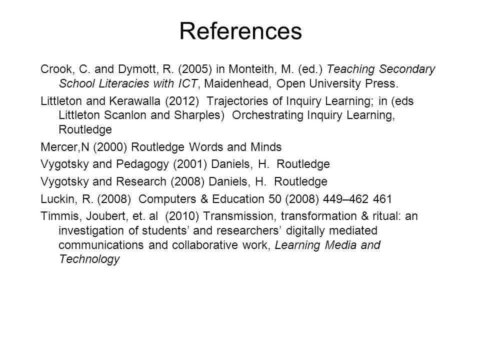 References Crook, C. and Dymott, R. (2005) in Monteith, M.