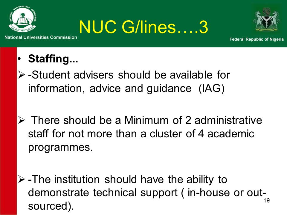 NUC G/lines….3 Staffing...