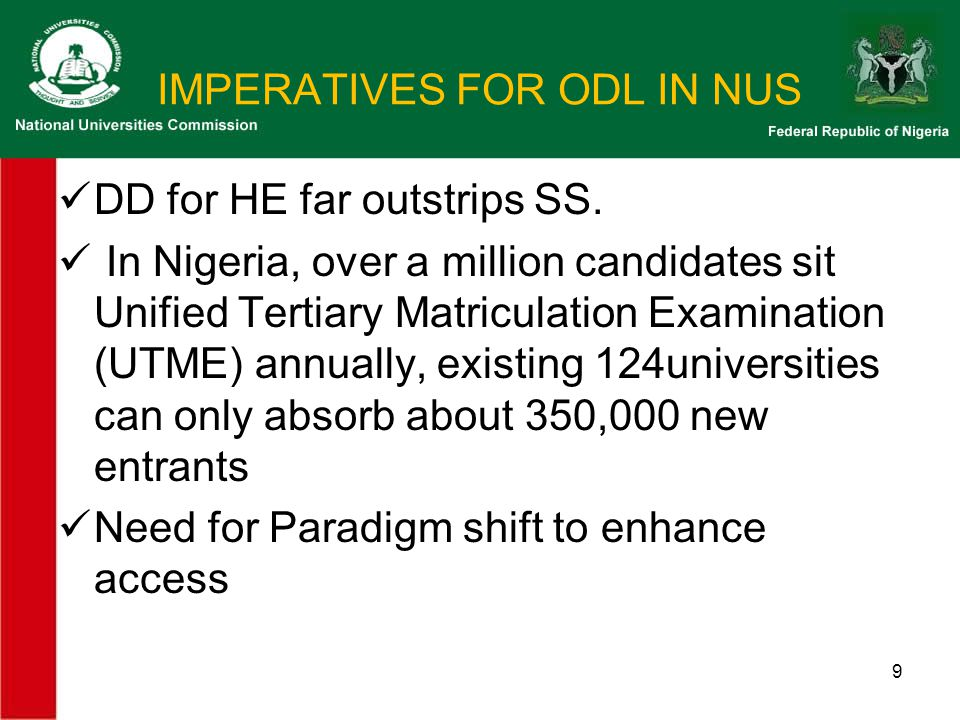 NUC G/lines…..4 ACADEMIC LEARNER SUPPORT:  Tutor: Student Ratio= 1:50  Tutors should be trained or have validated ODL qualifications ( through orientation, seminars, on-line workshops, conferences on ODL programmes).