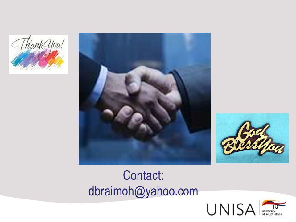 18 Contact: dbraimoh@yahoo.com