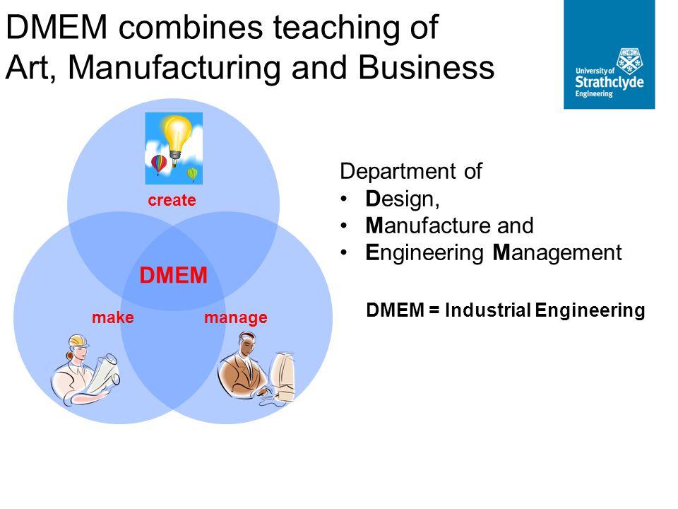 Department of Design, Manufacture and Engineering Management DMEM = Industrial Engineering create makemanage DMEM DMEM combines teaching of Art, Manuf