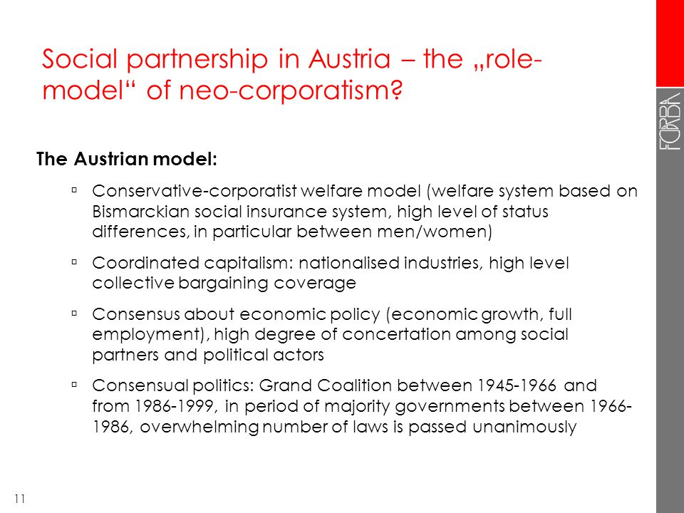 "11 Social partnership in Austria – the ""role- model of neo-corporatism."