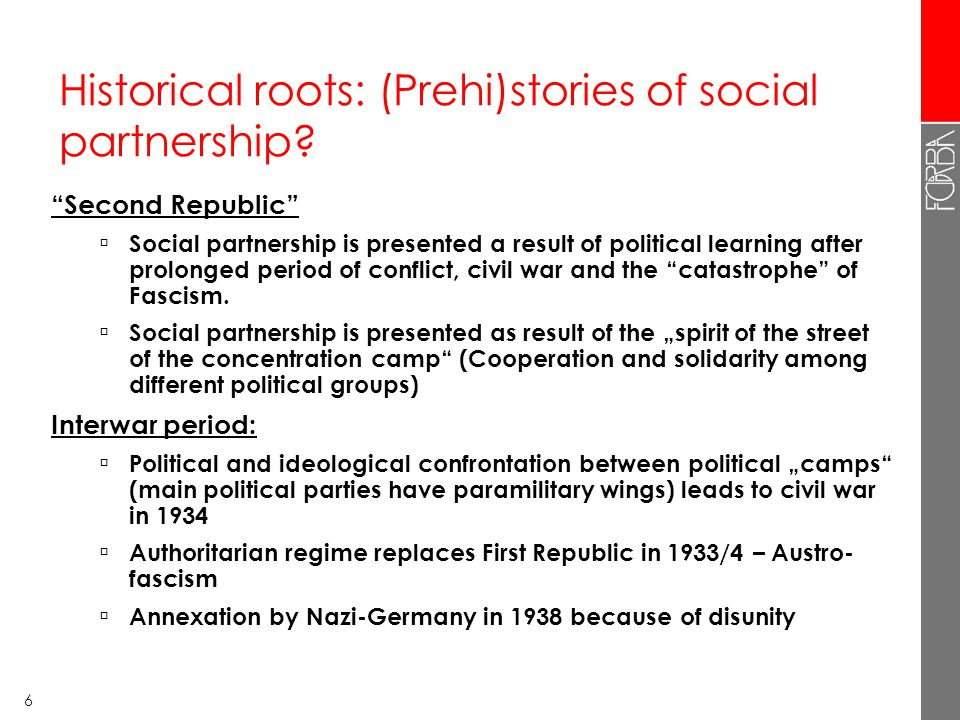 6 Historical roots: (Prehi)stories of social partnership.